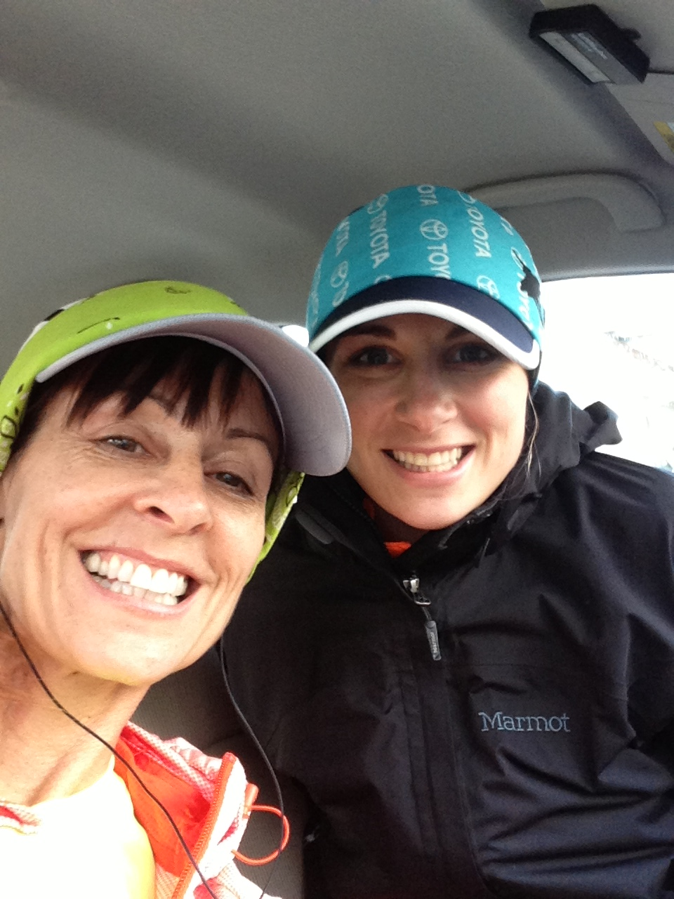 Here we are sitting in the car 50 feet from the start, staying warm and dry before the race