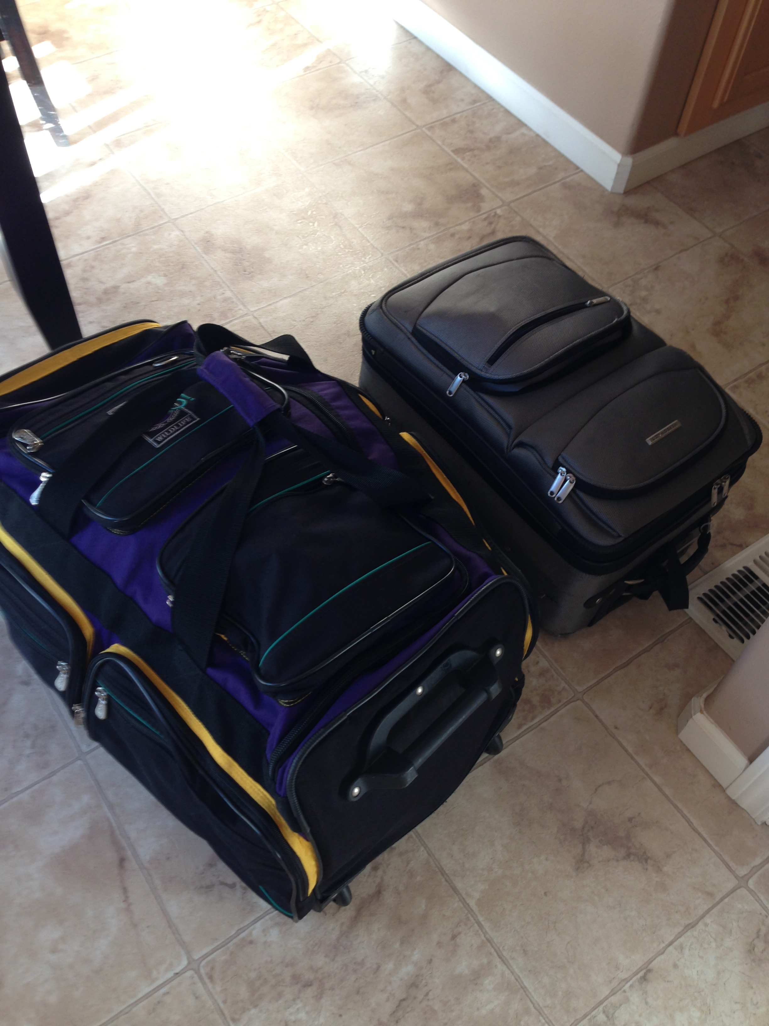 The bag on the left had my athletic gear. The bag on the right had everything else I needed for a 3 week trip.