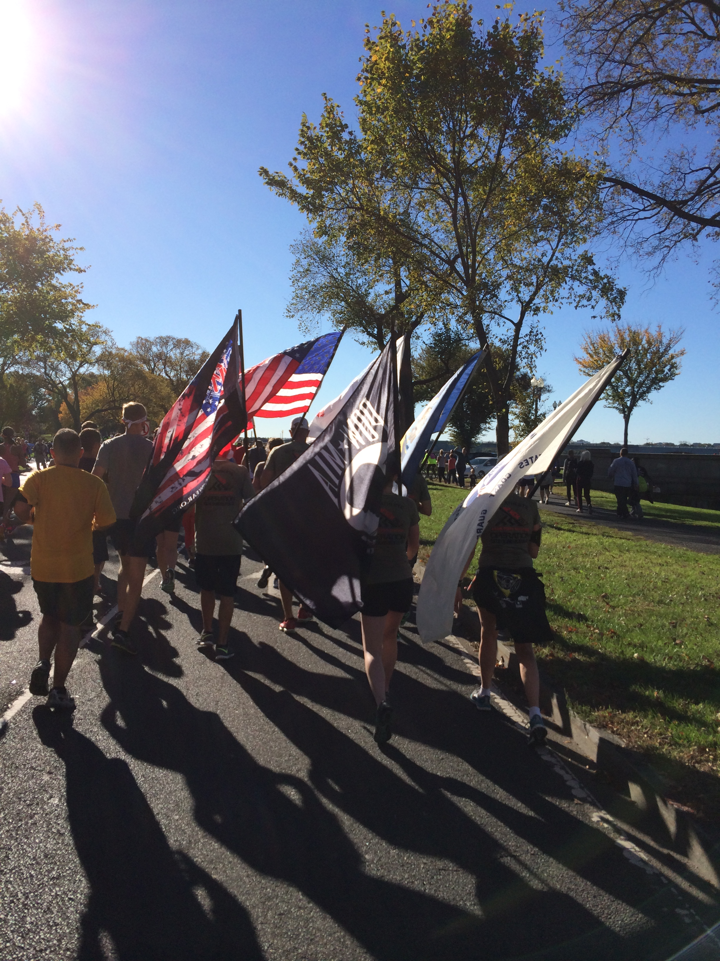 There were several groups like this that ran the whole course carrying flags